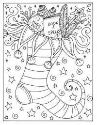 Новогодний сапог Раскраски для взрослых антистресс
