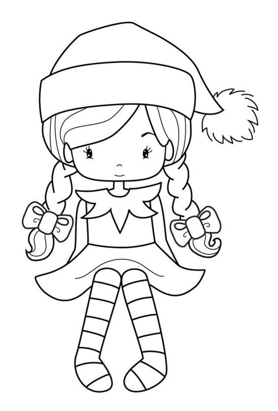 Девочка в гольфах и шапочке Раскраски для взрослых антистресс