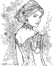 Девушка в красивом платье и украшениях среди цветов Раскраски для взрослых антистресс
