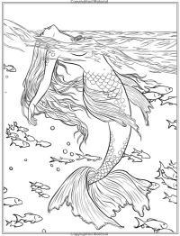 Русалка среди рыб плещется в море Раскраски для взрослых антистресс