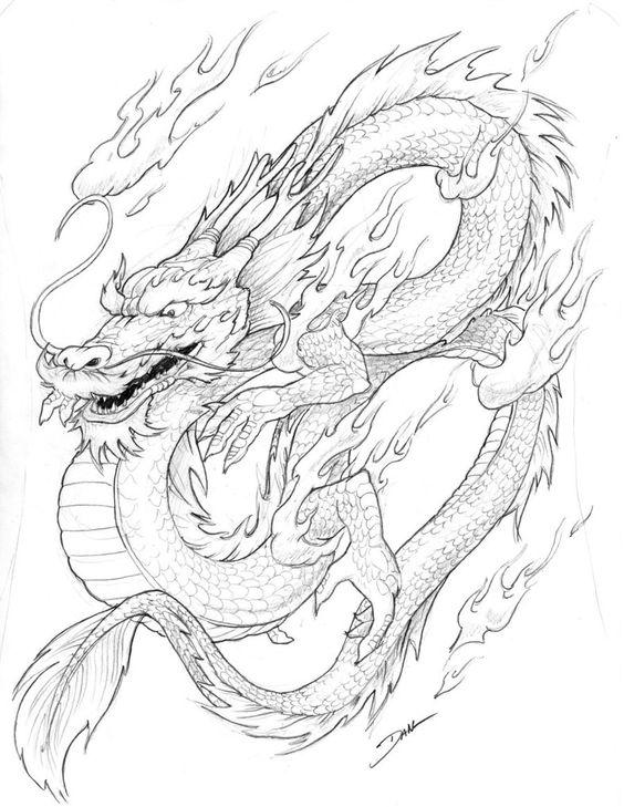 Пламенный дракон Раскраски для взрослых скачать