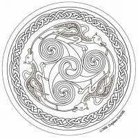 Мандала с драконми Раскраски для взрослых скачать