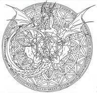 Мандала с драконом Раскраски для взрослых скачать