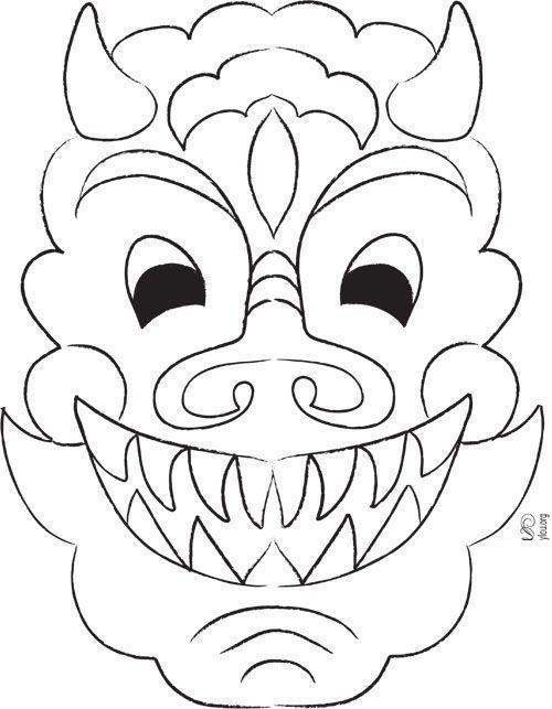 Маска китайского дракона Раскраски для взрослых скачать