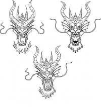 Три маски с головами драконов Раскраски для взрослых скачать