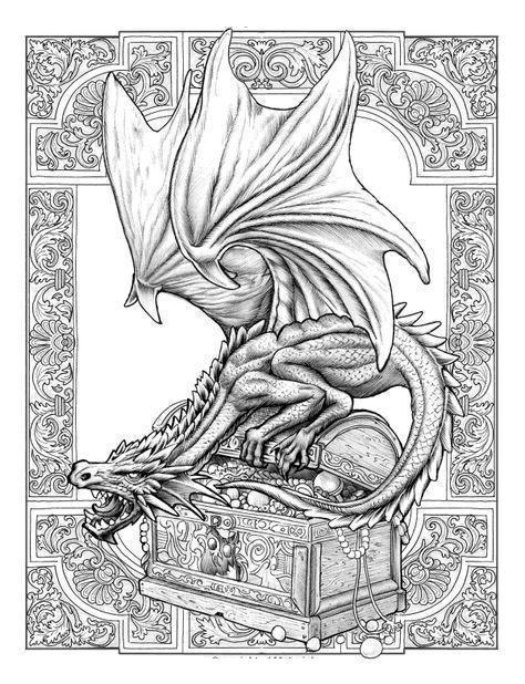 Дракон охраняющий богатства Раскраски для взрослых скачать