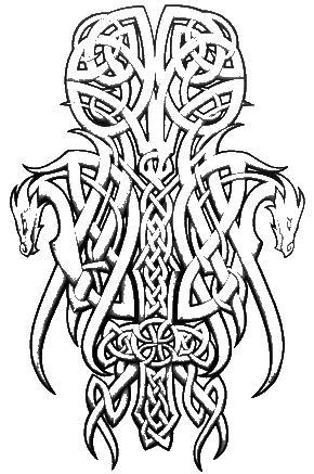 Кельтский узор с драконами Раскраски для взрослых скачать