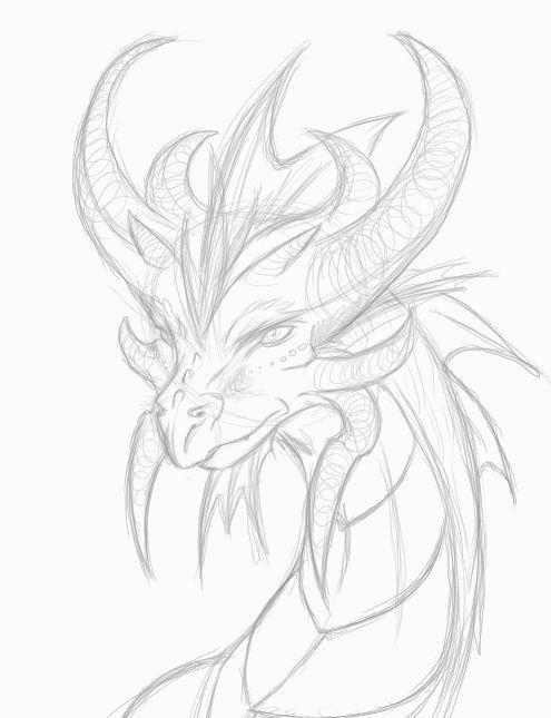 Рисунок дракона с рогами Раскраски для взрослых скачать