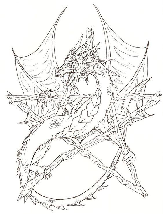 Дракон Злой дракон Антистрессовые раскраскиАнтистресс онлайн