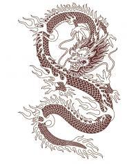 Длинный змеевидный дракон Раскраски для взрослых скачать