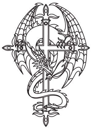 Дракон на кресте Раскраски для взрослых скачать