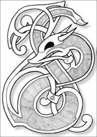 Кельтский дракон в виде брошки Раскраски для взрослых скачать