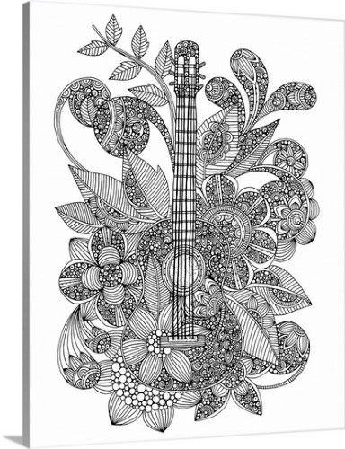 Гитара в цветах Раскраски для взрослых скачать