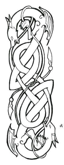 Кельтский узор с драконами Картинки антистресс раскраски