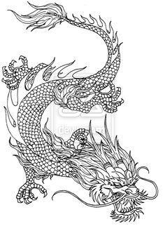 Китайский дракон Картинки антистресс раскраски