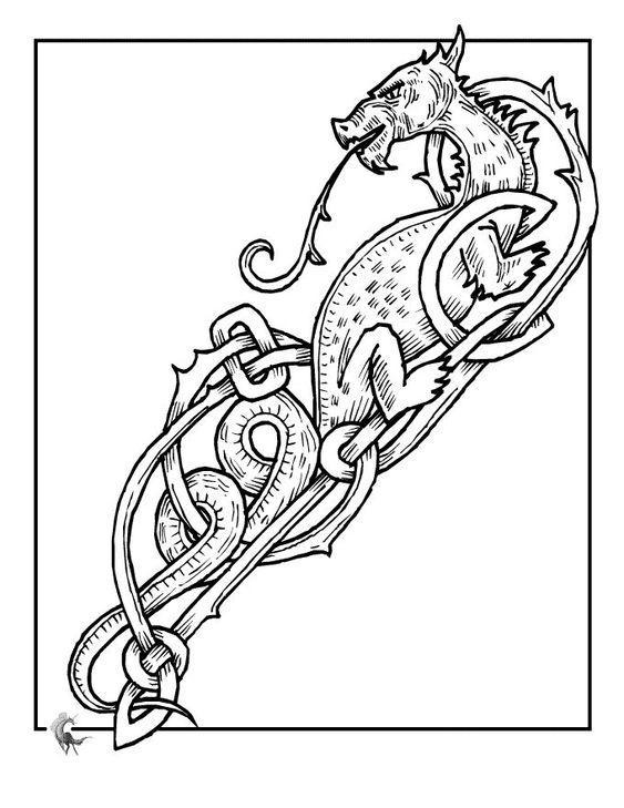 Узор с драконом Раскраски для взрослых скачать