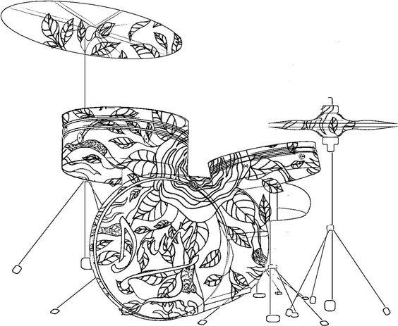 Ударная барабанная установка Раскраски антистресс а4