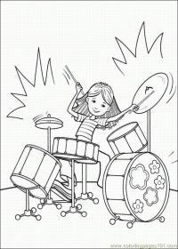 Девочка играет на ударной установке. девочка среди барабанов Раскраски для взрослых скачать
