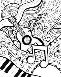Музыкальные инструменты Раскраски антистресс а4