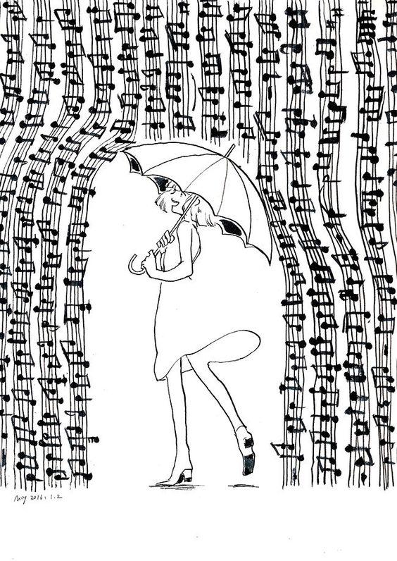 Девочка под дождем из нот Раскраски антистресс а4
