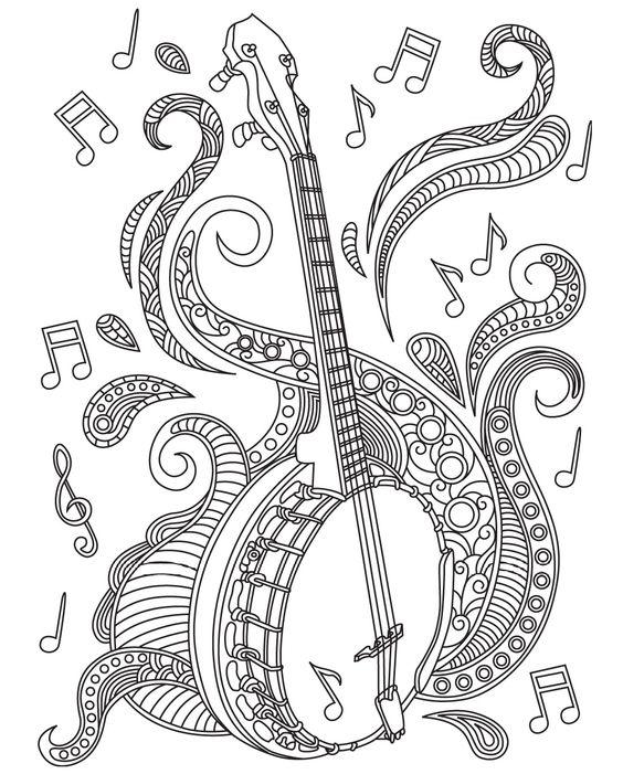Екин китайский струнный инструмент Раскраски антистресс а4