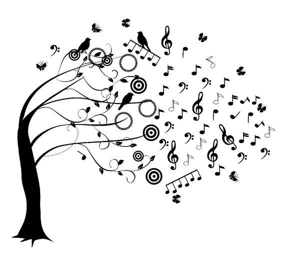 Ноты Ветер сдувает ноты с дерева Раскраски антистресс распечататьАнтистресс онлайн