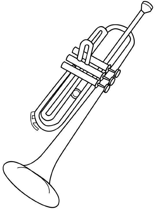 Труба, духовой музыкальный инструмент Раскраски антистресс а4