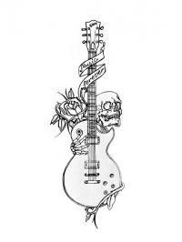 Гитара с черепом Раскраски для взрослых скачать