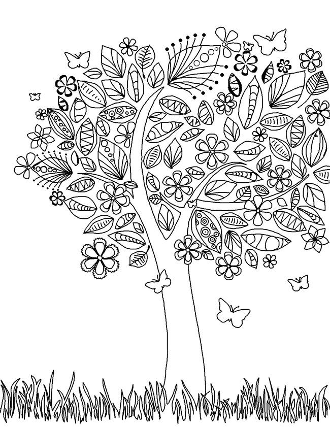 Природа бабочки цветы дерево Раскраски для взрослых скачать