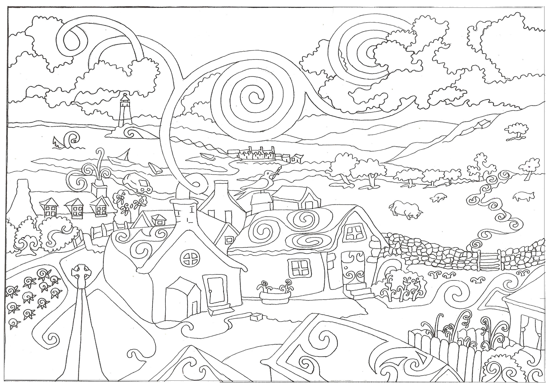 Деревня и дым к небу Раскраски для медитации