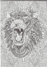 Лев рычит Раскраски антистресс бесплатно
