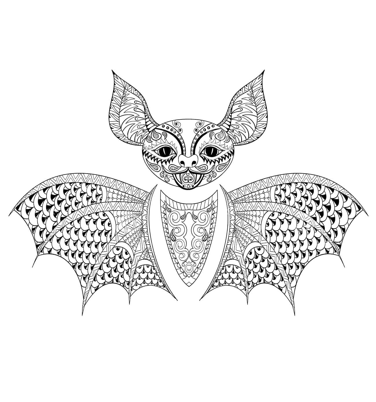 Летучая мышь Раскраски для медитации