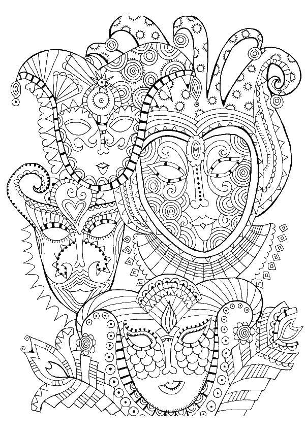 Маски Раскраски для медитации