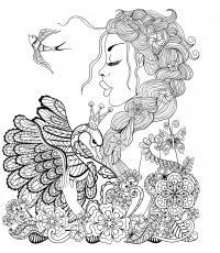 Лебедь девушка и птица Раскраски для медитации