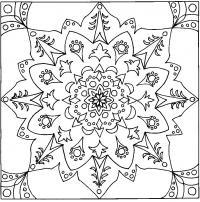 Красивый цветок в квадрате Раскраски антистресс распечатать