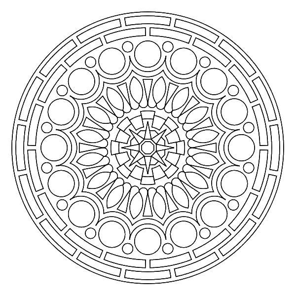 Круги треугольники и квадраты в узорах Раскраски антистресс распечатать