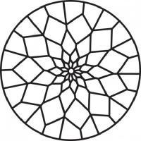 Круглый узор из четырехугольников Раскраски антистресс распечатать