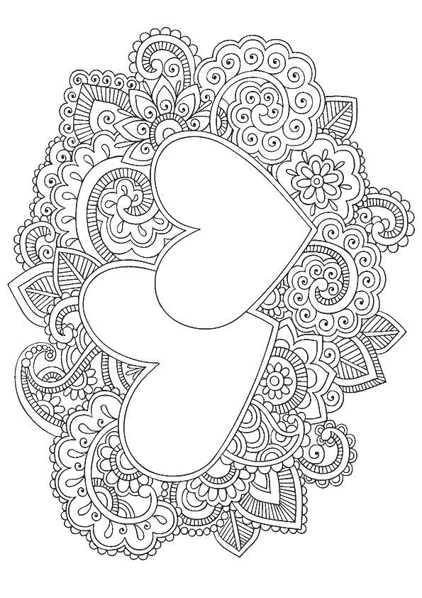 Красивый узор сердце в листве Раскраски антистресс бесплатно