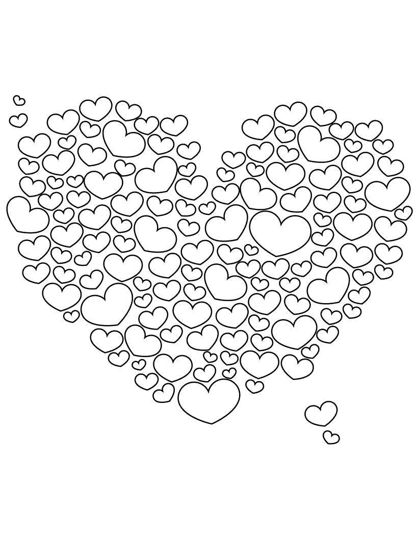 Сердце из сердечек чернобелое Раскраски антистресс бесплатно
