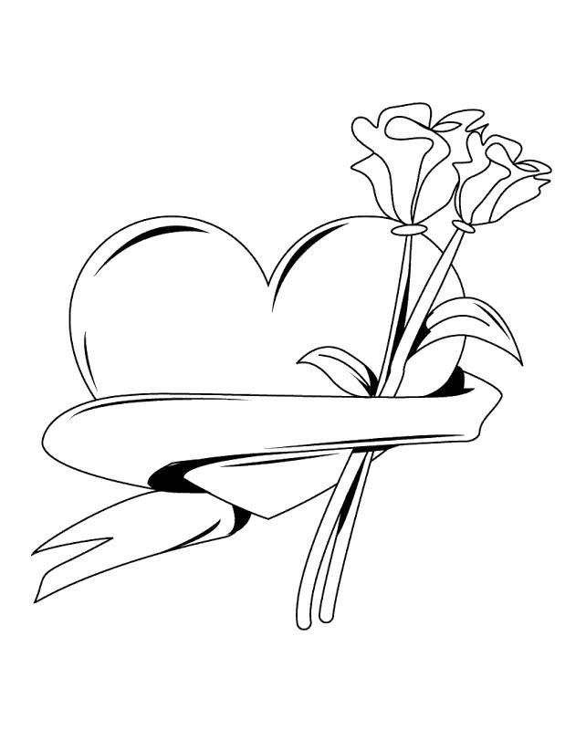 Сердце лента и розы Раскраски антистресс бесплатно