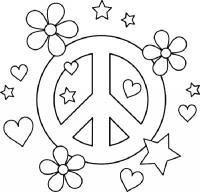 Сердечки мир и цветы Раскраски антистресс бесплатно