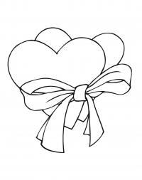 Два сердца с ленточкой <em>антистресс</em> Раскраски антистресс бесплатно