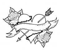 Сердце шипы розы лента и стрела амура Раскраски антистресс бесплатно