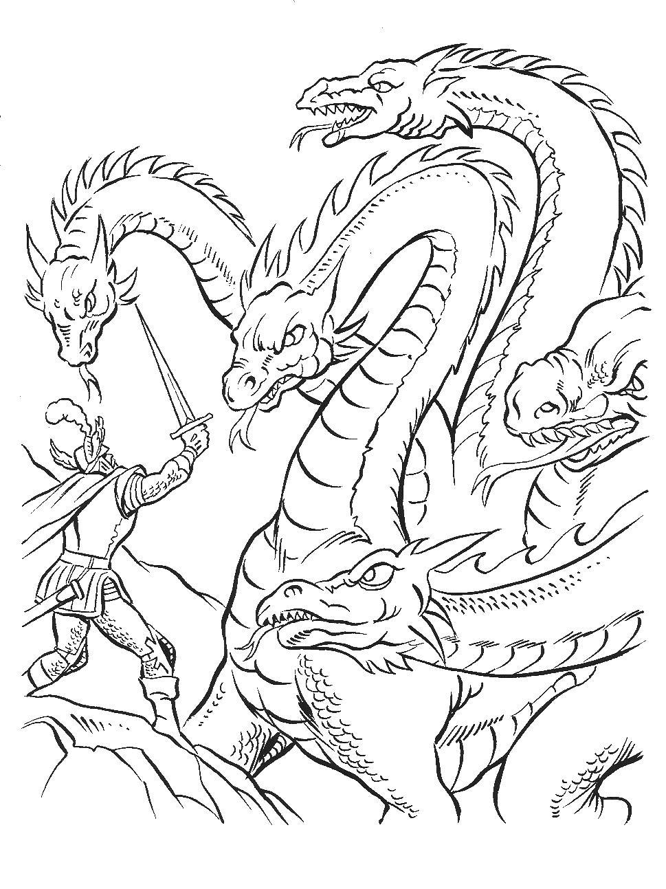 Дракон гидра Картинки антистресс раскраски