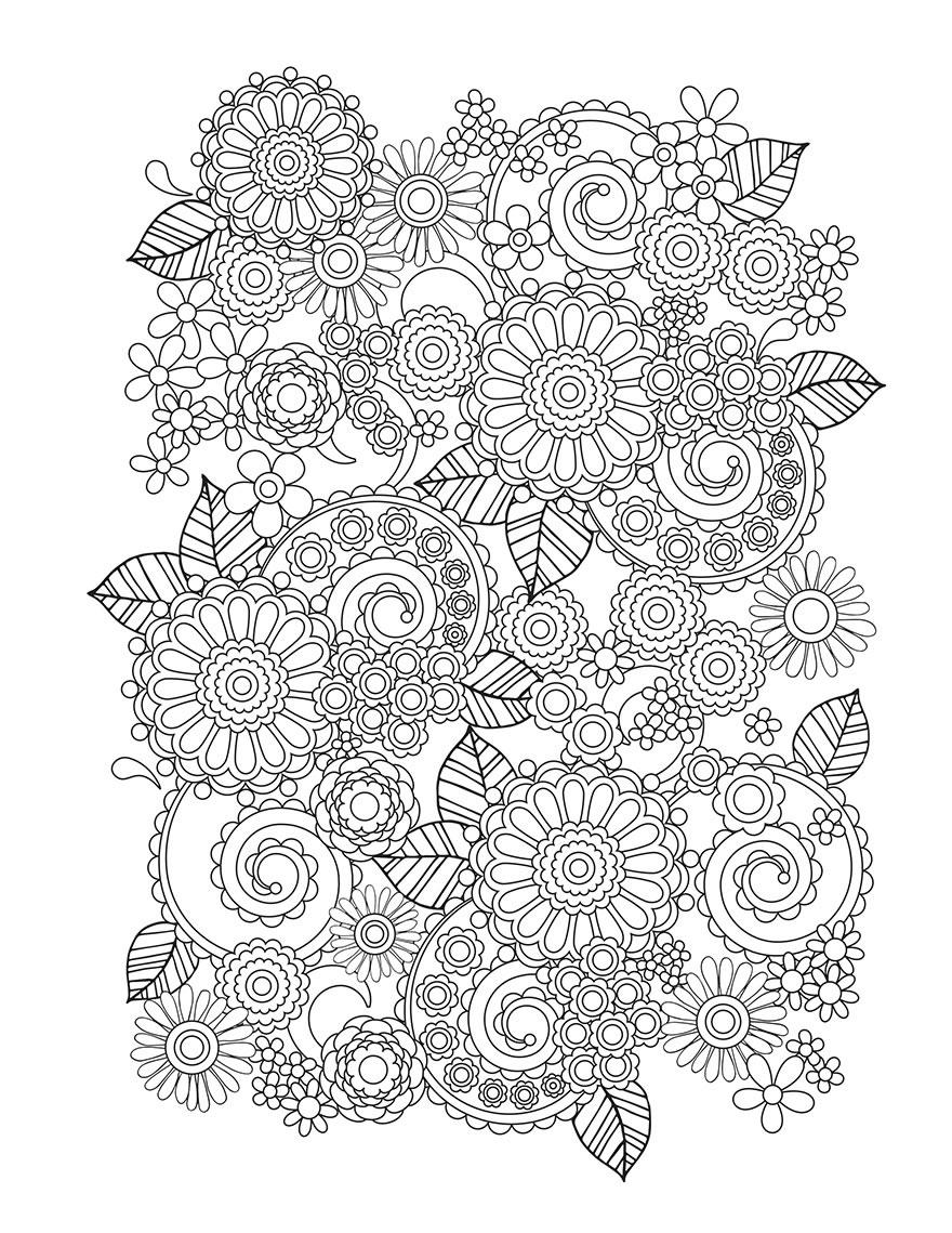 Узоры из цветов Раскраски для взрослых скачать