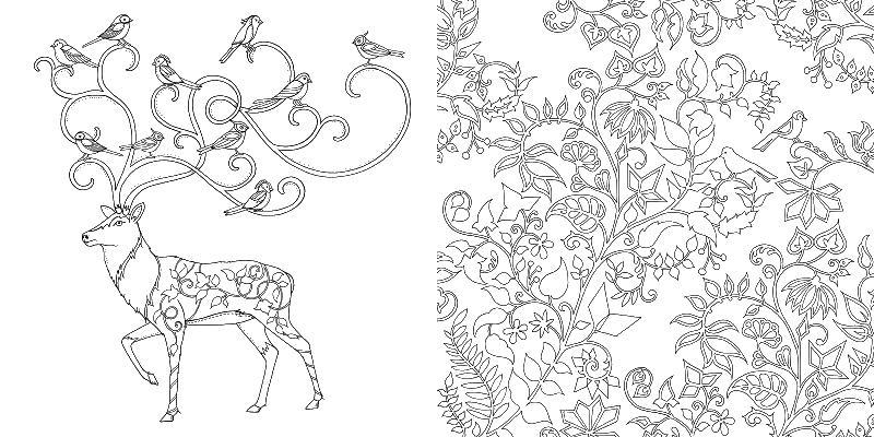Олень и птицы Раскраски для взрослых скачать
