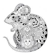 Мышка в узоре из животных Раскраски антистресс бесплатно