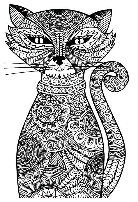Кошка Раскраски антистресс бесплатно