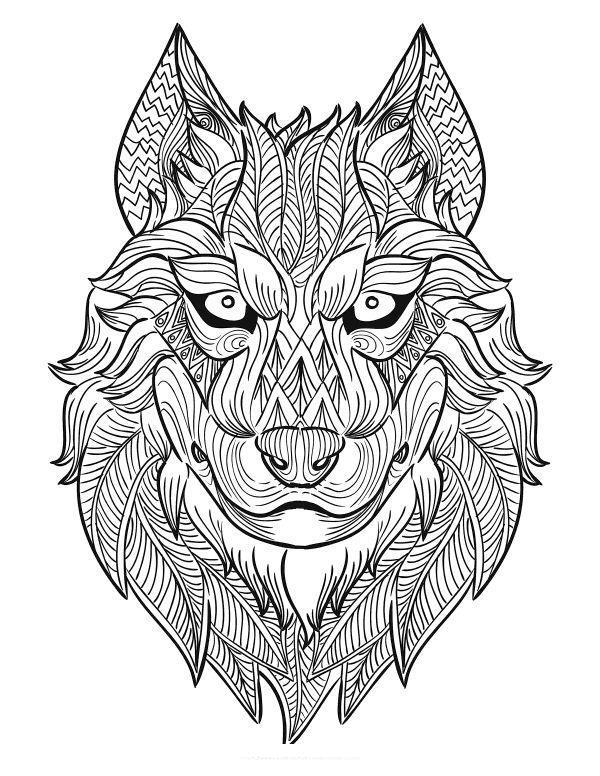 Очень красивый волк Раскраски антистресс бесплатно