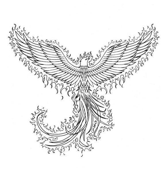 Птица феникс Антистрессовые раскраски